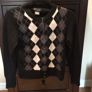 Black and plaid cashmere cardigan sweater.